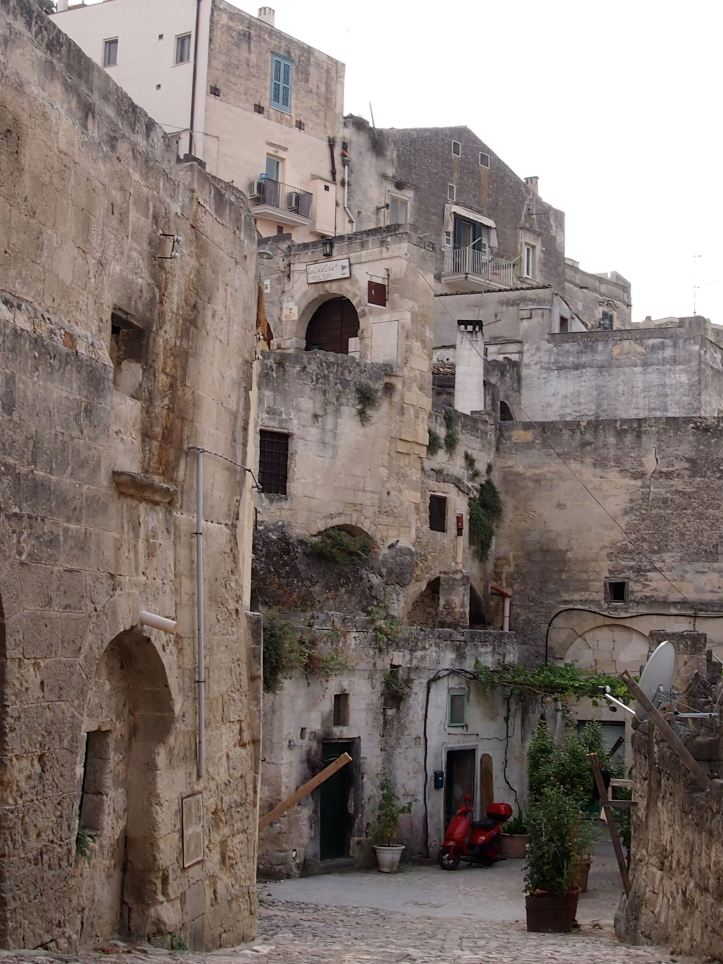 Layered cave houses in Matera