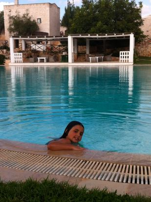 Enjoying the pool at Masseria Cervarolo
