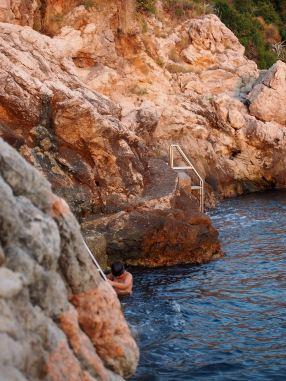 Villa Dubrovnik - Lucas taking a dip in the Adriatic sea