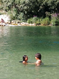 Enjoying a cool off - Kravice waterfalls