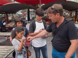 Enjoying fresh berries from the market- Ljubljana